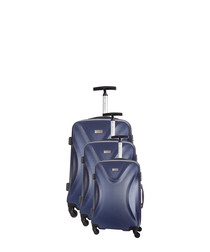 3pc blue spinner suitcase nest