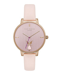 Pink & rose gold-tone leather watch