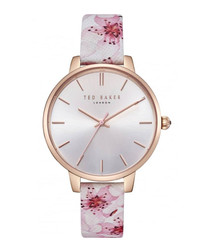 Pink leather floral print watch