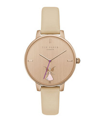 Cream & rose gold-tone leather watch