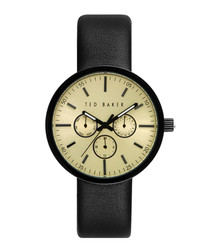 Black leather strap tri-dial watch