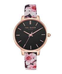 Black leather floral print watch