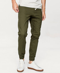 Olive cotton joggers