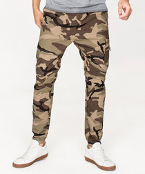 Camouflage cotton blend trousers