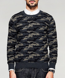 Camouflage cotton knit jumper