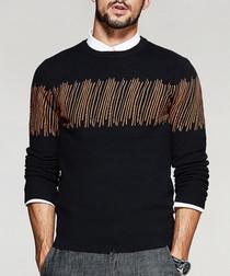 Black embellished knit jumper
