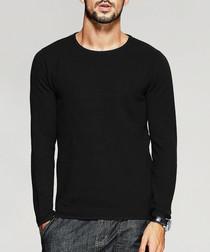 Black pure cotton knit jumper