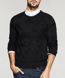 Black cotton blend knitted jumper