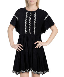 Santiago black cotton embroidered dress