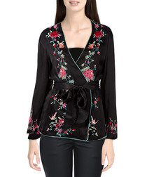 Black embroidered tie-waist blazer