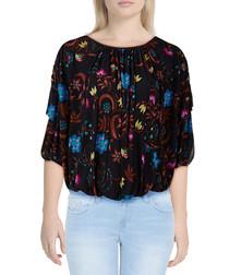Wild Flower Honey black print blouse