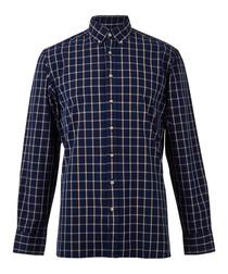Denim blue pure wool long sleeve shirt