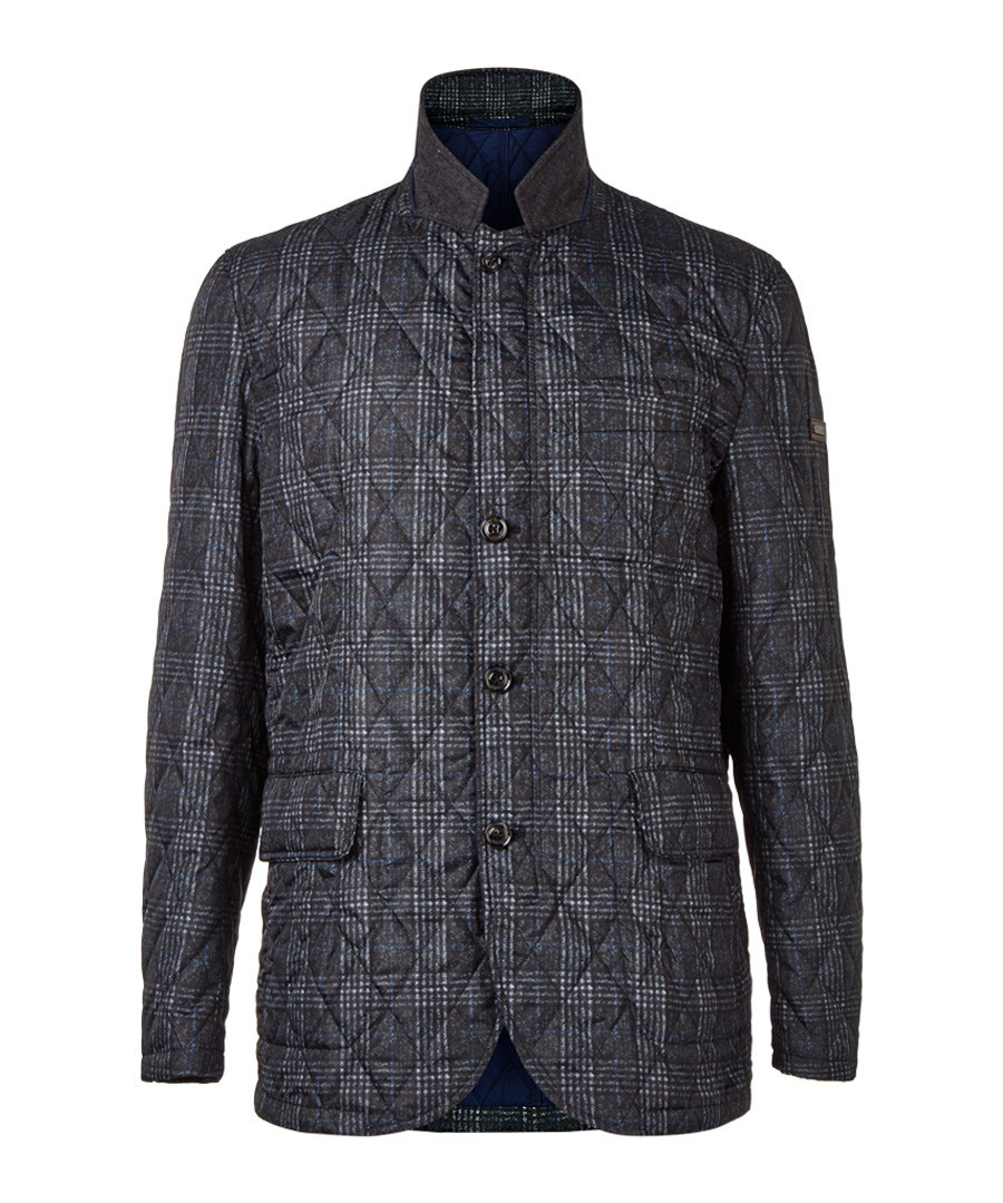 Charcoal pure cotton quilted jacket  Sale - hackett london