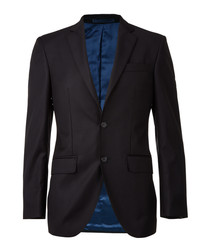 Black & navy pure wool blazer
