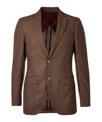 Brown pure wool tweed blazer