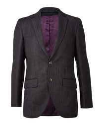 Charcoal pure wool tweed blazer