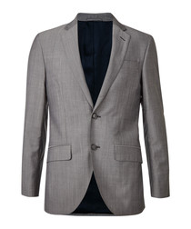 Grey wool & mohair long sleeve blazer