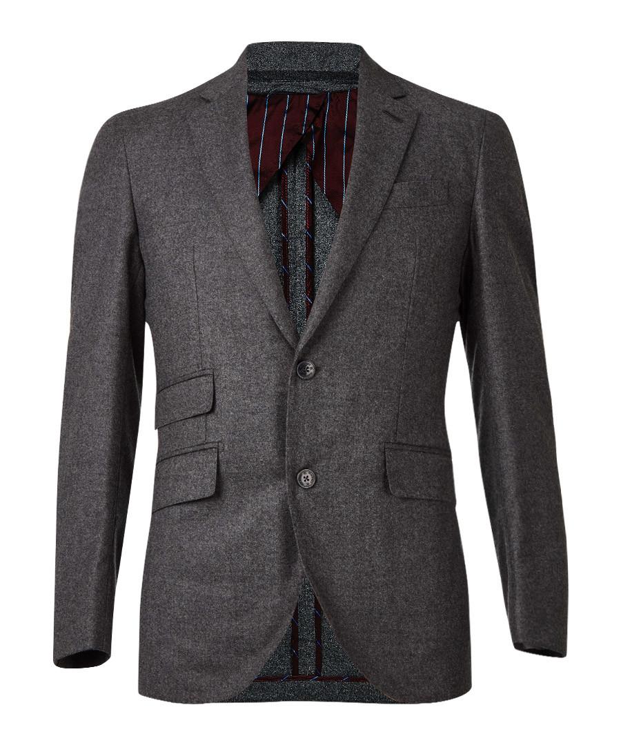 Grey wool blend long sleeve blazer Sale - hackett london