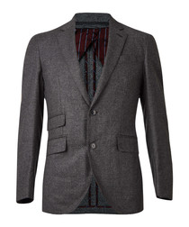 Grey wool blend long sleeve blazer