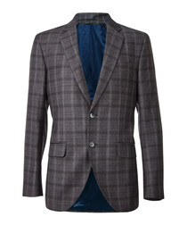 Grey wool check single breasted blazer