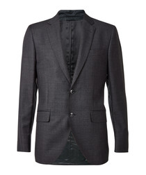 Slate grey wool single breasted blazer
