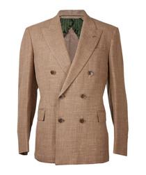 Tan pure wool blend double blazer