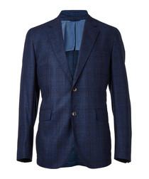 Navy wool long sleeve blazer