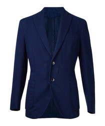 Bright navy cotton & linen blend blazer