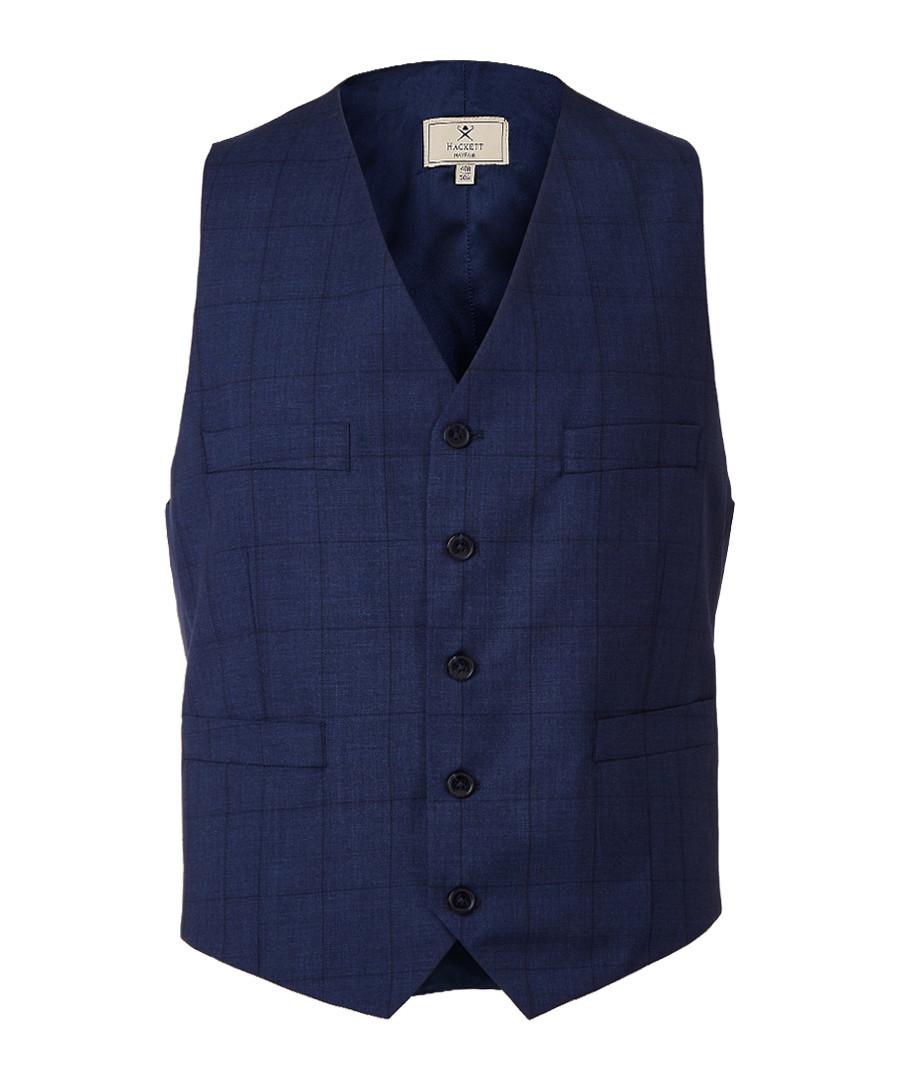 Steel blue wool waistcoat Sale - hackett london