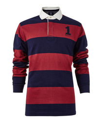 Navy & wine striped polo top