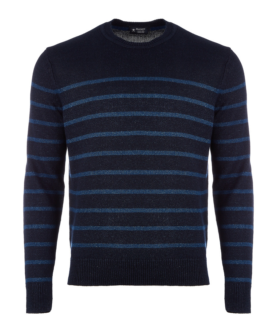 Navy cotton linen blend stripe jumper Sale - hackett london