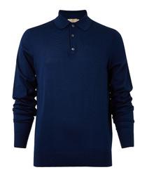 Navy blue cotton & silk long sleeve polo