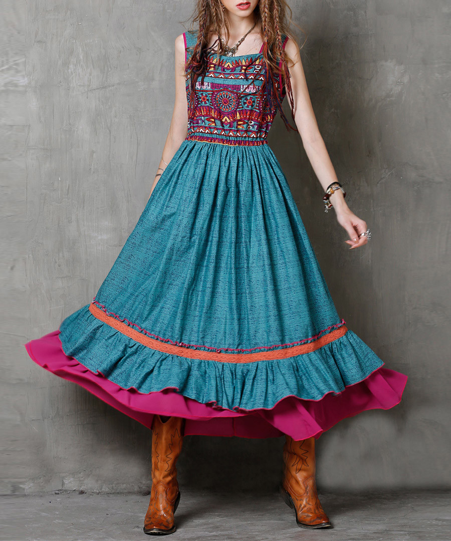 Blue cotton & linen layered dress Sale - keer qiaowa