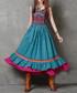 Blue cotton & linen layered dress Sale - keer qiaowa Sale