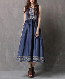 Denim blue pure cotton trim dress