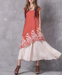 Orange cotton & hemp asymmetric dress