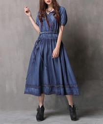 Denim blue pure cotton faded dress