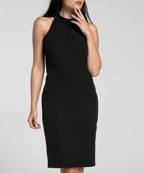 Black halterneck fitted dress