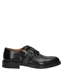 Men's black leather monk strap shoes