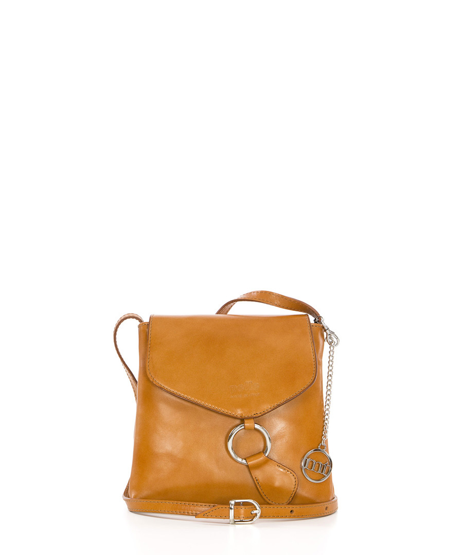 Tan leather flap cross body bag Sale - mia tomazzi