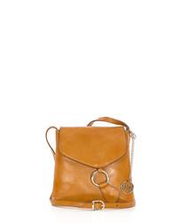 Tan leather flap cross body bag