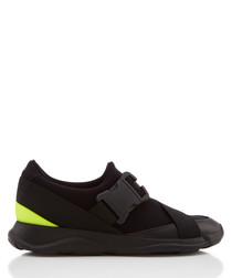 Black & lime buckle sneakers