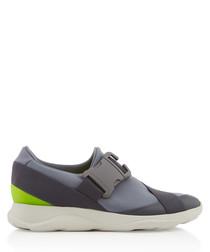 Grey & lime buckle sneakers