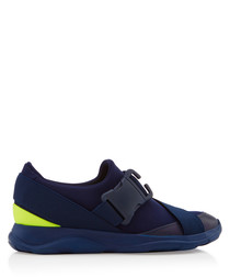 Navy & lime buckle sneakers