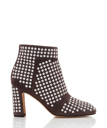 Dots grey leather stud ankle boots
