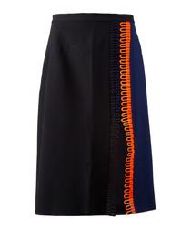 Black contrast midi skirt