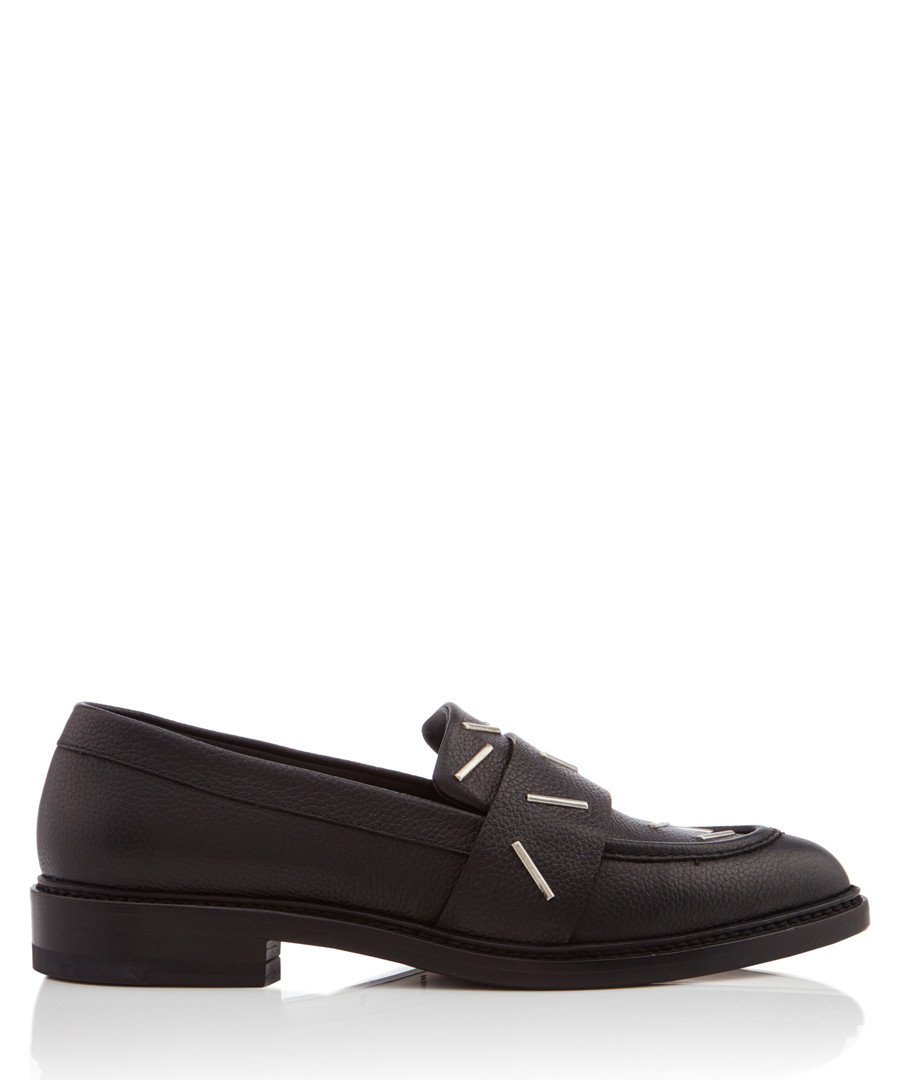 Staples black leather print loafers Sale - Christopher Kane