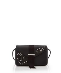 Devine black leather print clutch bag