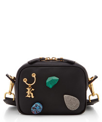 Gypsy black leather charm cross body