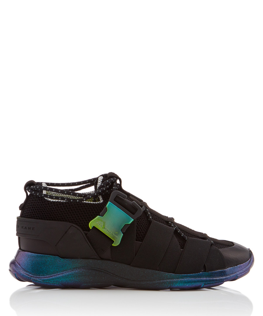 Black & iridescent lace-up sneakers Sale - Christopher Kane